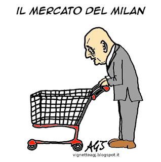 galliani, milan, calciomercato, sport calcio, umorismo vignetta