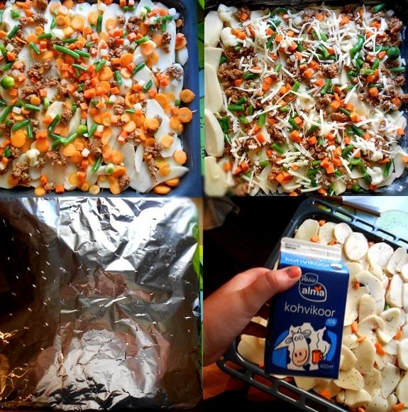 kartulivorm hakkliha ja juustuga