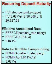 recurring deposit maturity amount