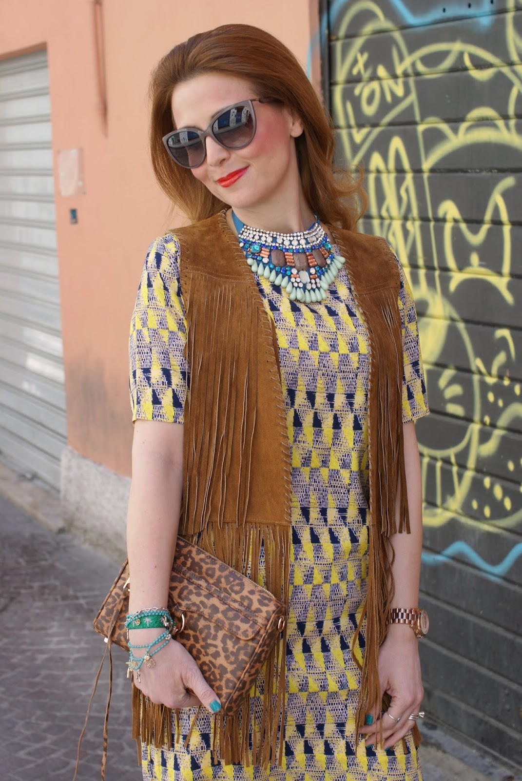 Zara fringe vest, Paramita Chibum dress, yellow trend, SimonaB Bijoux necklace on Fashion and Cookies fashion blog, fashion blogger style