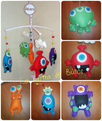 Móvil cuna aliens - Aliens felt baby crib mobile