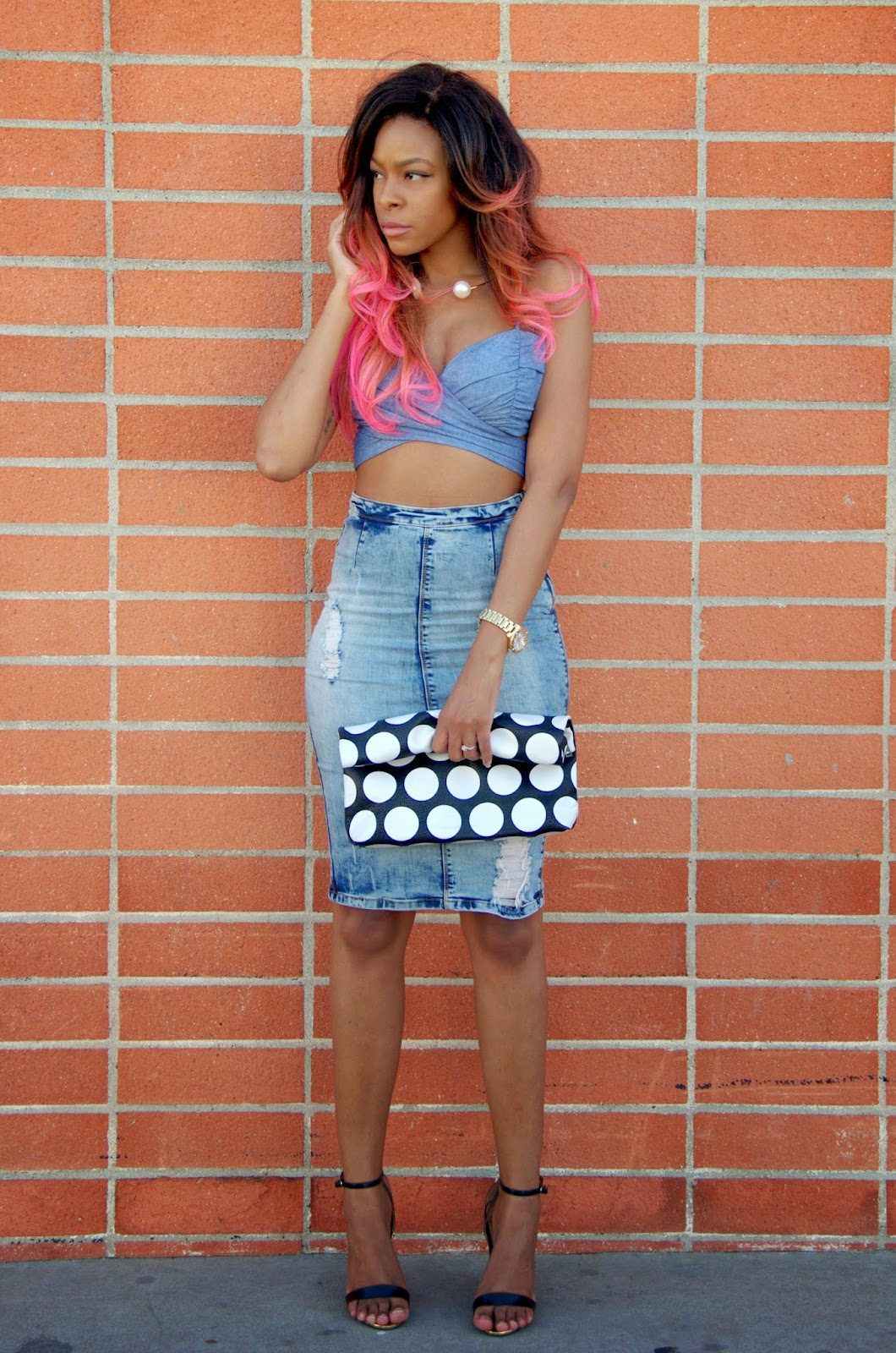 denim on denim outfit with pink ombre hair