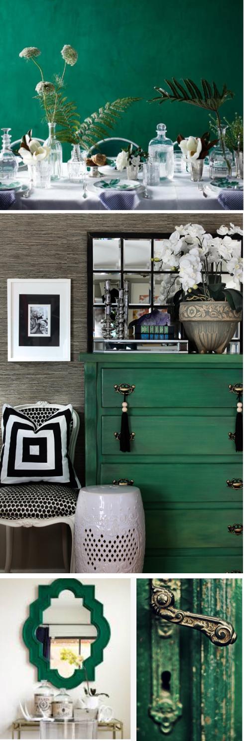 decoración hogar verde esmeralda