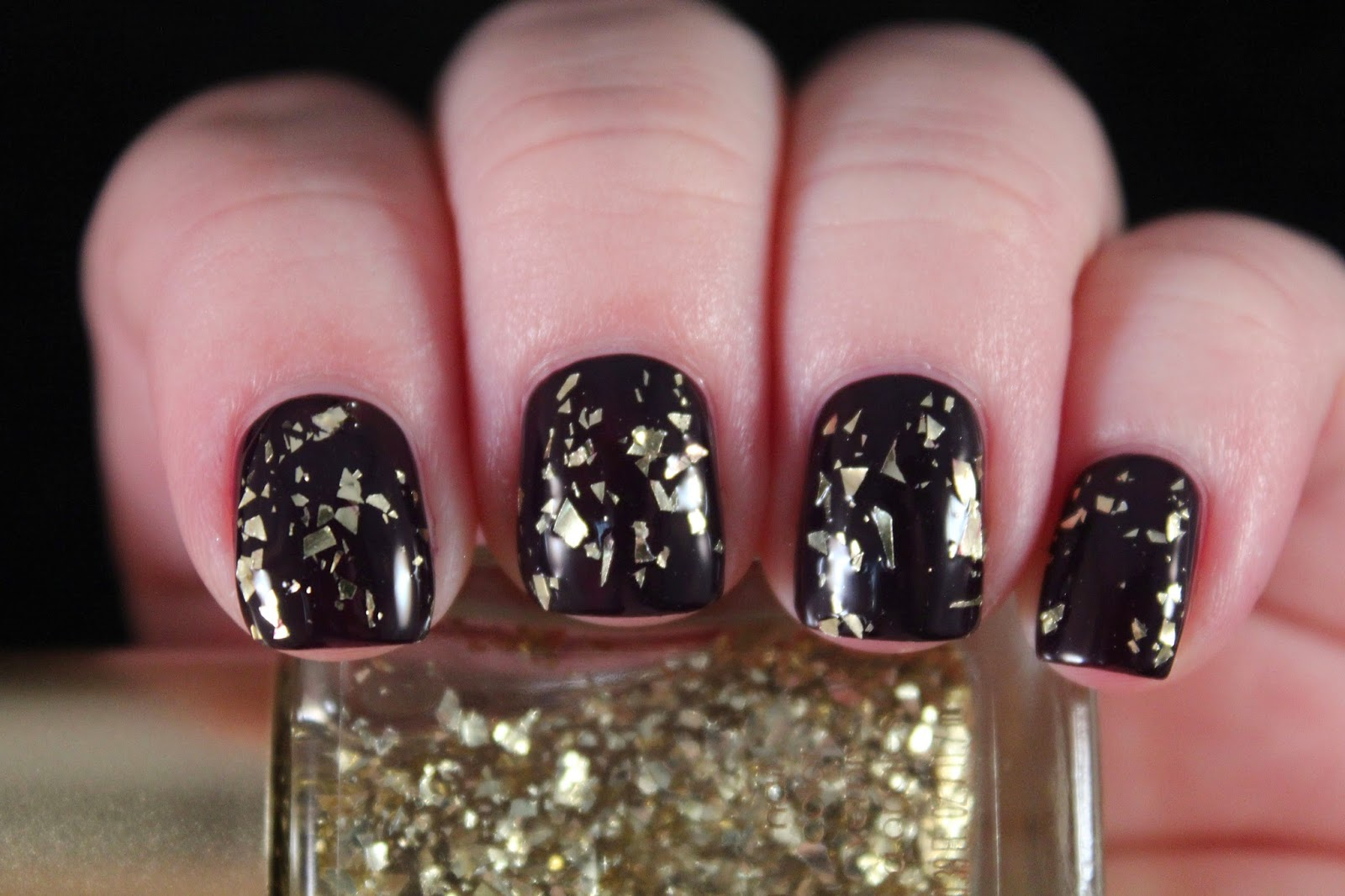 Loreal Black Glitter Nail Polish - To Bend Light