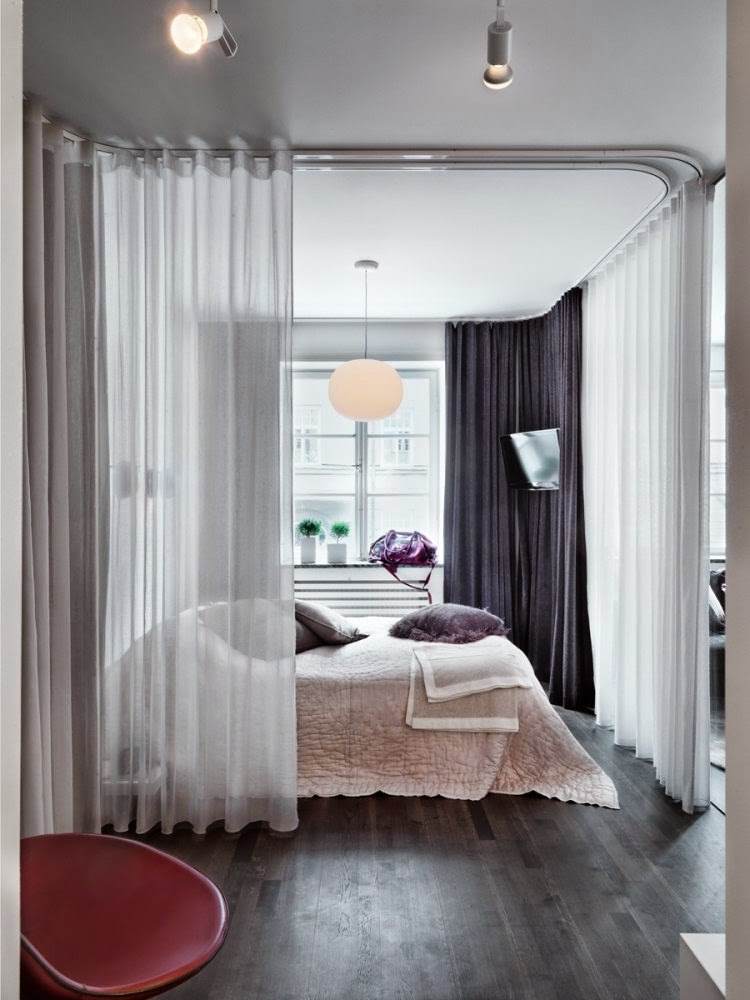 modern design ideas for small bedrooms with white curtains