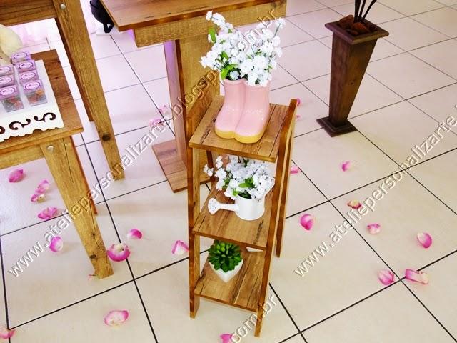 decoracao de festa infantil provencal marrom e rosa