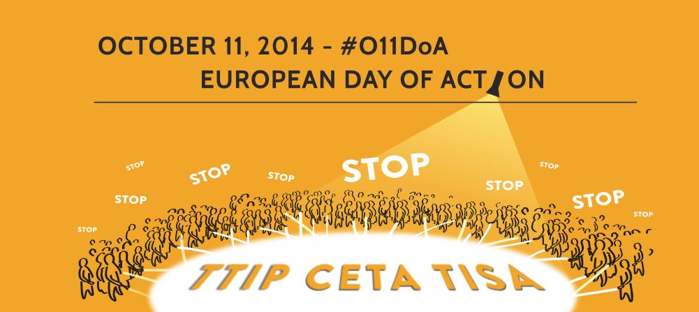 movilizaciones europeas contra el TTIP del día 11 de octubre