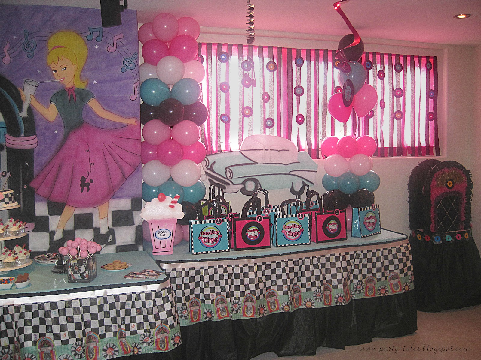 Party tales birthday party 50 39 s diner sock hop party for 50s party decoration ideas