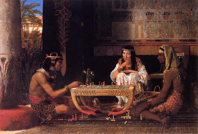 chess painting egyptian chess players