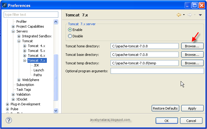 Configure Tomcat in MyEclipse_JavabynataraJ