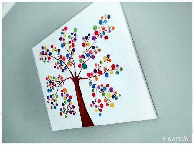DIY Baum zeichnen mit Knöpfen