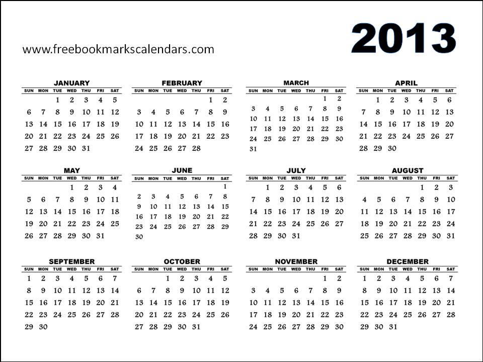 Free Printable Calendars 2015: Printable 2013 Calendar yearly template