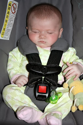 Madeline strapped incorrectly into car seat