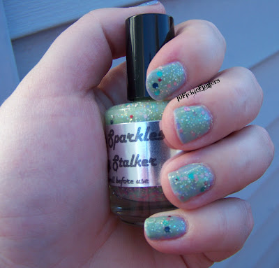 Paris Sparkles Celery Stalker swatches in the shade