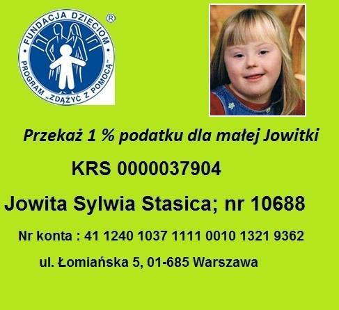 Przekaż 1 % podatku dla małej Jowitki