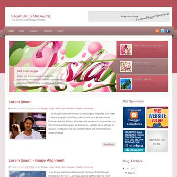 Casandres Magazine blogger template. free blogspot template magazine style