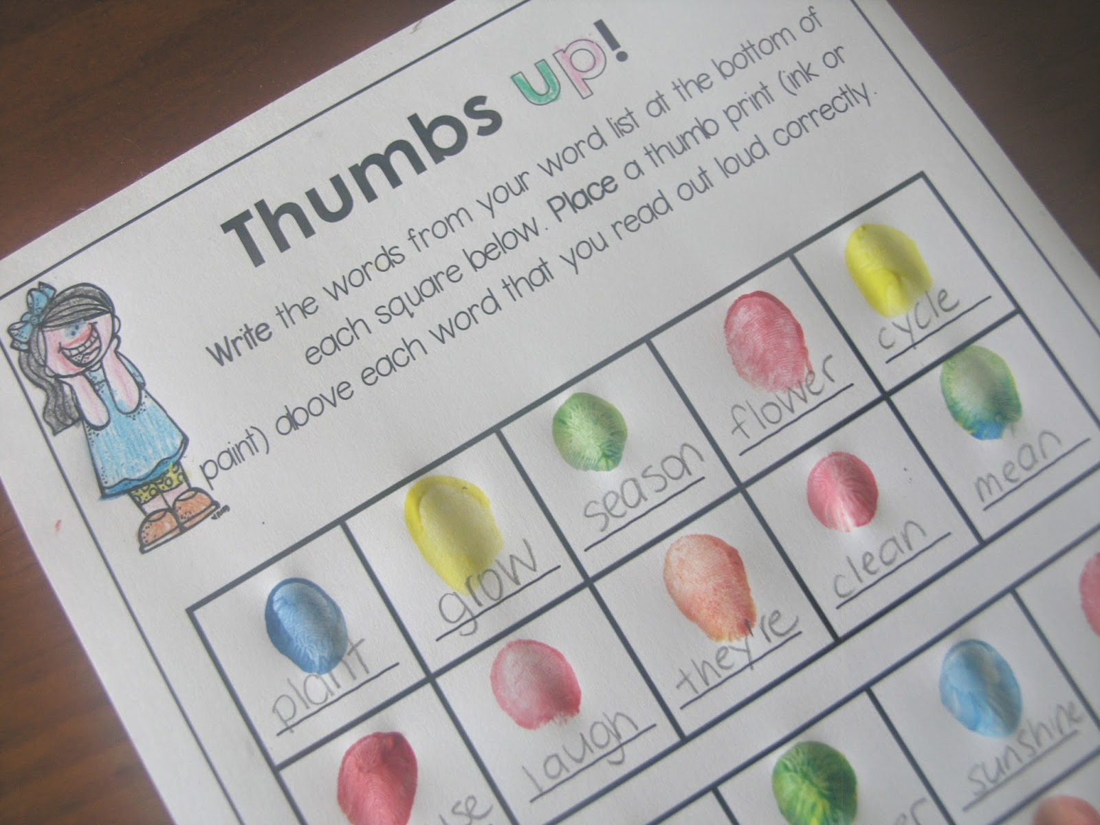 Thumbs up art page from Printables for any Word List file