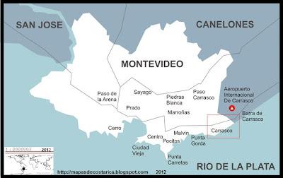 Mapa de MONTEVIDEO, capital de URUGUAY