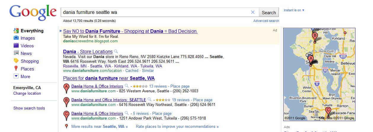 Real Life Screenshot From One Of Our Adwords Ads We Ran On Queries Related  To Dania