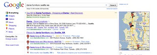 real life screenshot from one of our adwords ads we ran on queries related to dania furniture