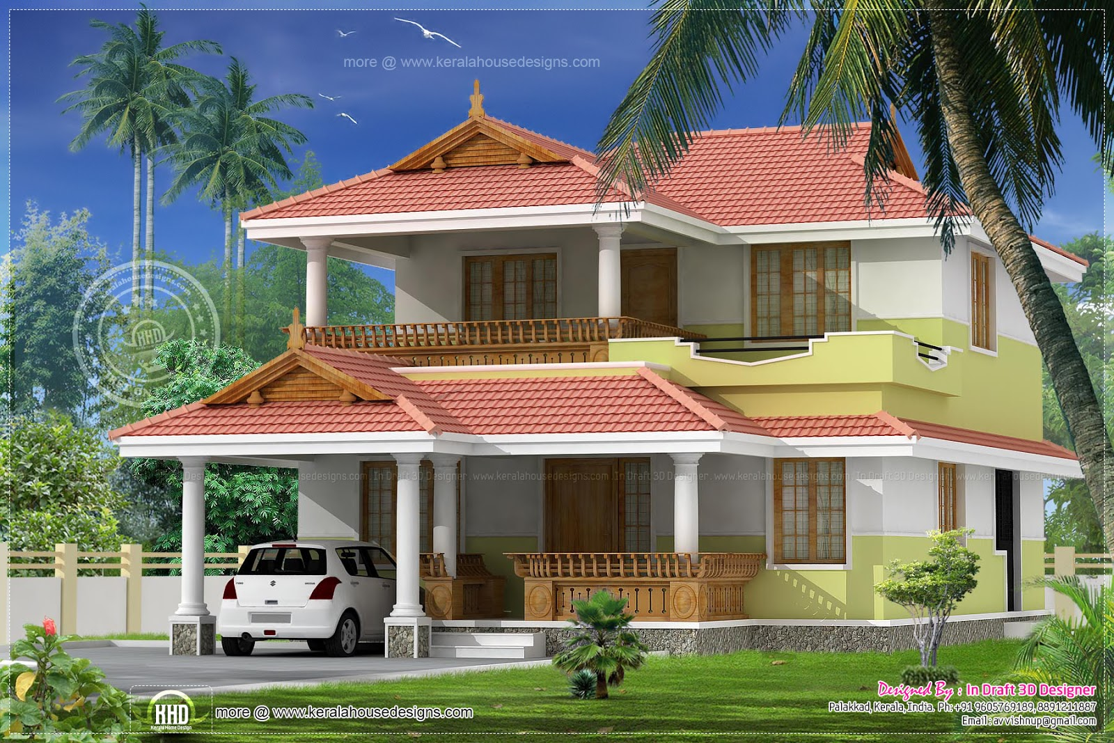 3 bed room traditional villa 1740 kerala home for Kerala house models photos