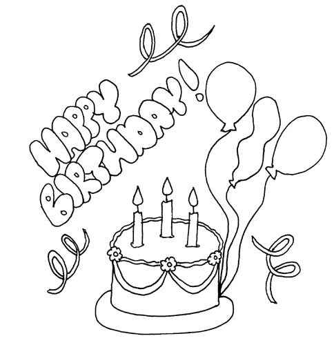 Birthday Cake And Balloons Coloring Page