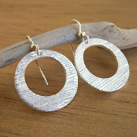 handmade textured fine silver hoop earrings by Jennifer Kistler