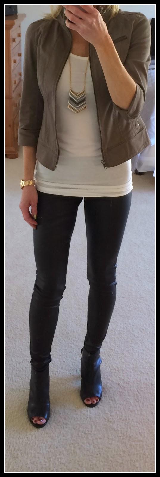 Express chevron necklace, twill roll sleeve moto jacket, scuba leggings, runway bootie, peep toe bootie