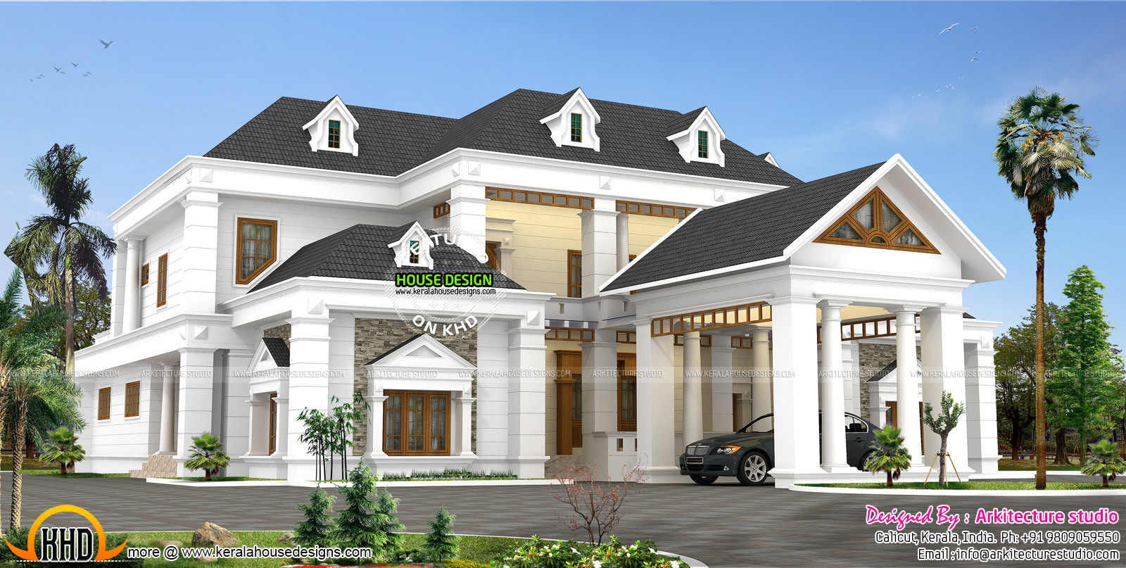 Colonial type modern luxury home - Colonial Type Slope Roof Home