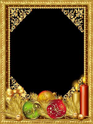 marco de foto navidad oro