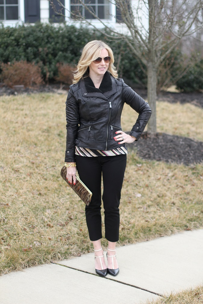 black leather jacket, Gap, Hobo, LosPhoto, lulu looks, Michael Kors, Old Navy, Ray Ban, Simply Lulu Style, Stella Dot, Tahari, Vince Camuto,