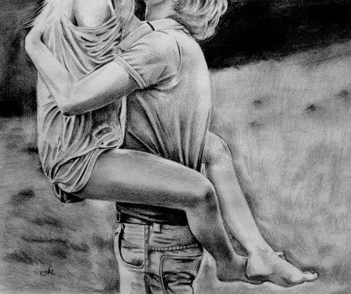 Романтическая история любви в черно-белом рисунке