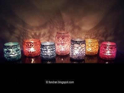 Hekluð krukkuljós - crochet jars
