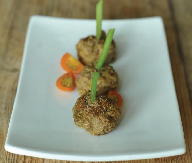 SPOON: Lamb Meatballs with Cilantro Mint Pesto Sauce Recipe