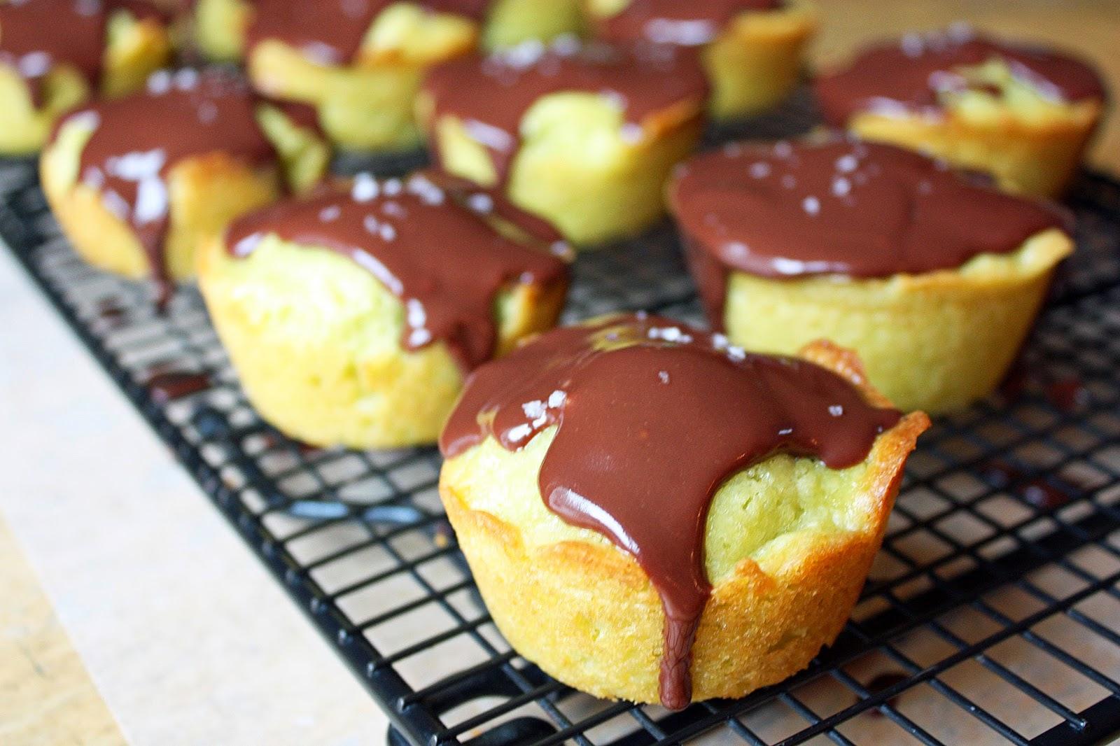 Vegan avocado pound cake cupcakes with chocolate ganache ...