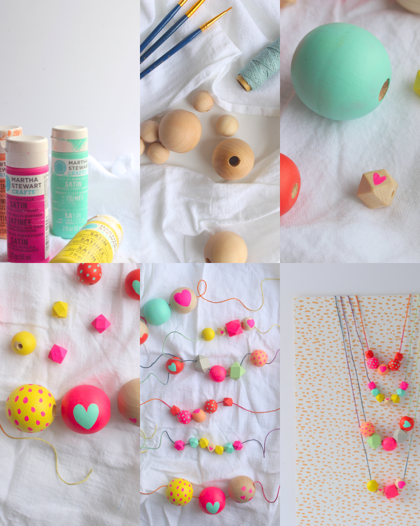 The perfect activity for any Valentine's or Galantine's Day party! Step one: find or buy wooden beads in a variety of sizes and shapes. Step two: paint them with beautiful colors - I choose red/orange, bright pink, yellow, peach, and a light aqua. Step three: after the base coat, add hearts or simple dot patterns.  Step four: use fun colored twine and let the kids/friends string them up!
