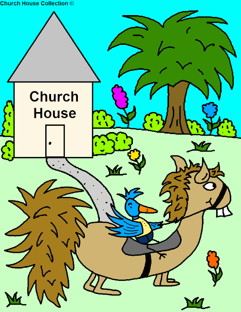 : Bird Riding Funny Looking Horse Going To Church House Coloring Page