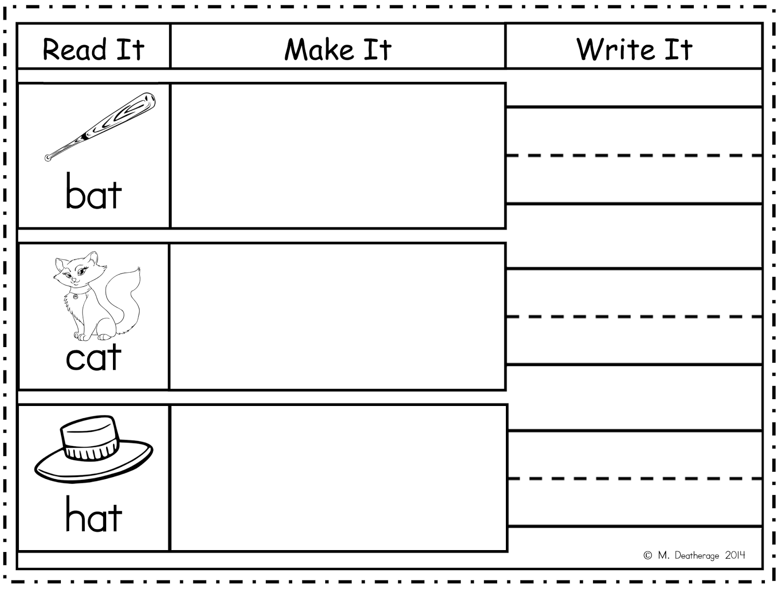 http://www.teacherspayteachers.com/Product/Word-Work-Center-Read-Make-Write-Short-A-1396254