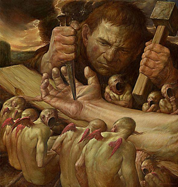 Viktor Safonkin pinturas surreais sombrias medievais mitológicas religião subconsciente A crucificação