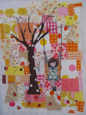 girl on a tree swing mini quilt tutorial