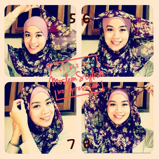 Cara Memakai Jilbab Sifon Segi Empat Simple