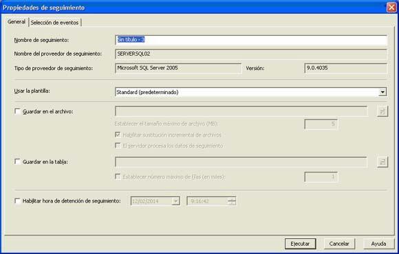Transacciones en SQLProfiler, nueva traza