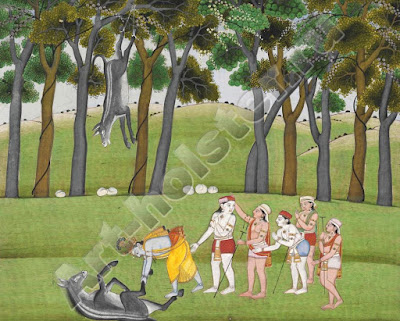 balaram kills dhenukasura, the demon in donkey form