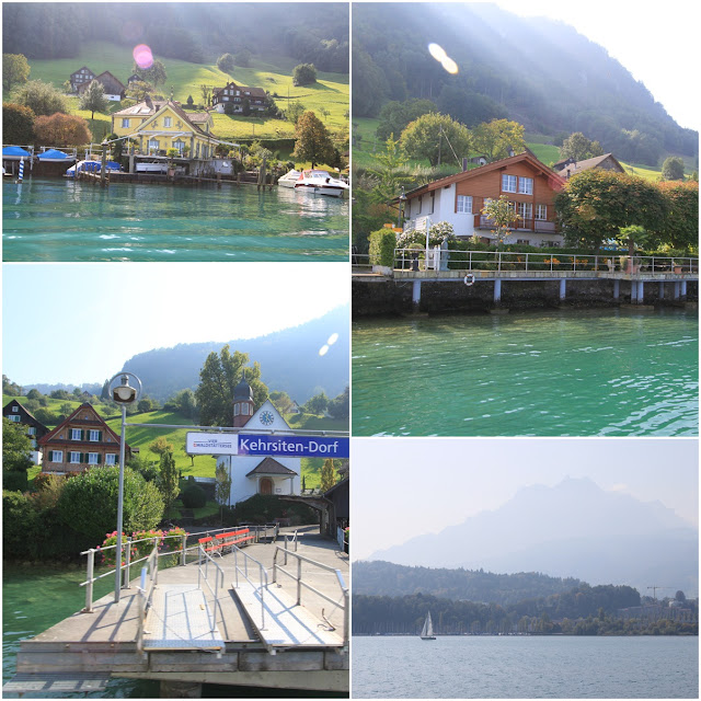 Traditional Swiss Houses along the Lake Lucerne in Lucerne, Switzerland