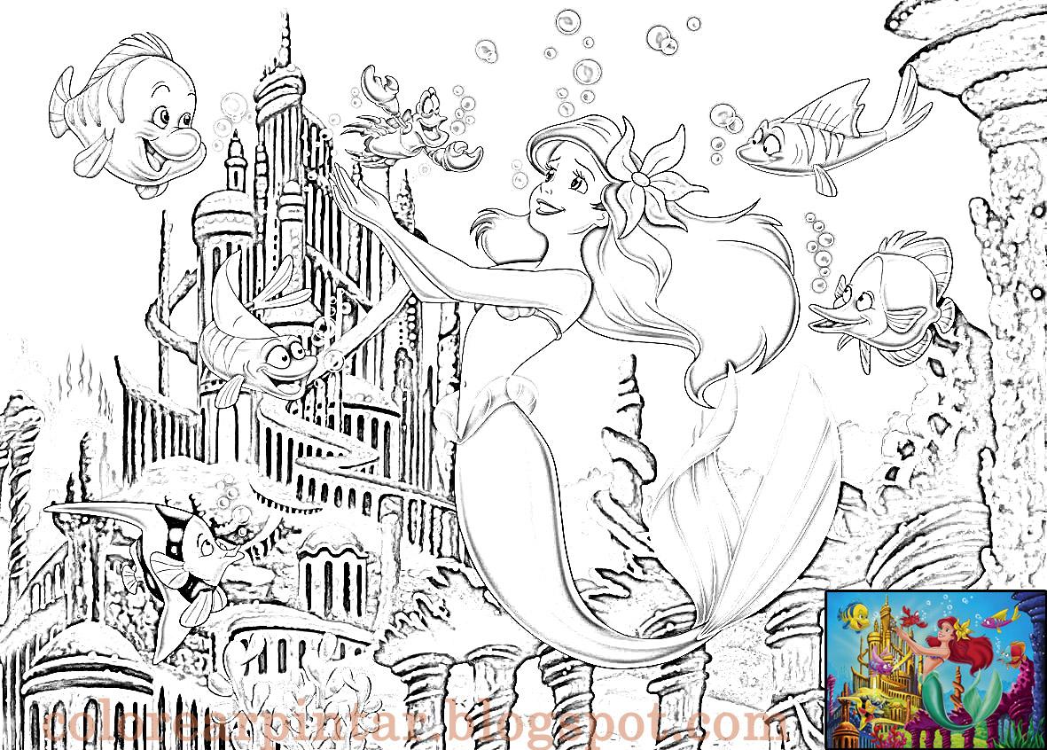 Colorear Pintar: Ariel y su Castillo bajo el Mar para Colorear