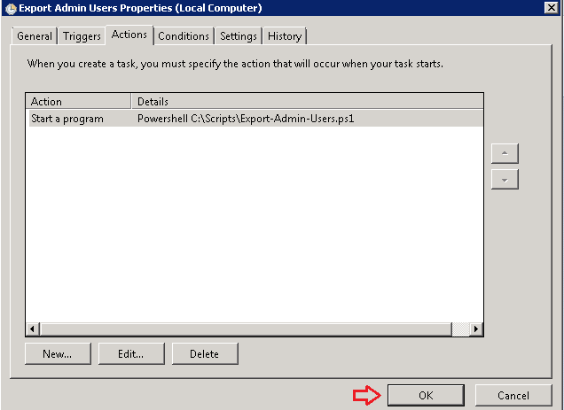Export Active Directory Users to CSV via Task Scheduler using Powershell script