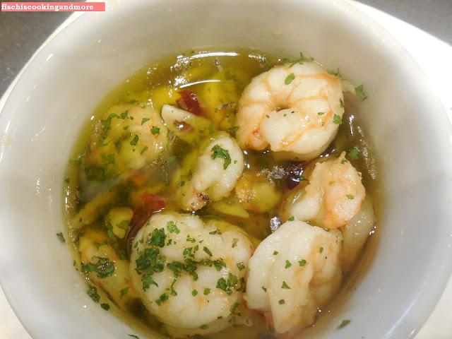fischiscooking, garnelen, olivenöl, knoblauch