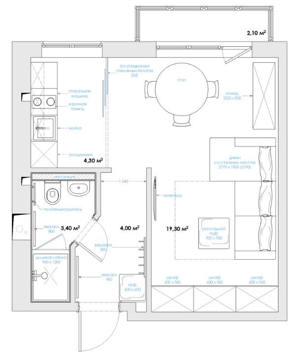 Дизайн однокомнатной квартиры: мозговой штурм и концепция. о.