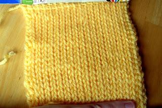 yellow Tunisian Knit Stitch square