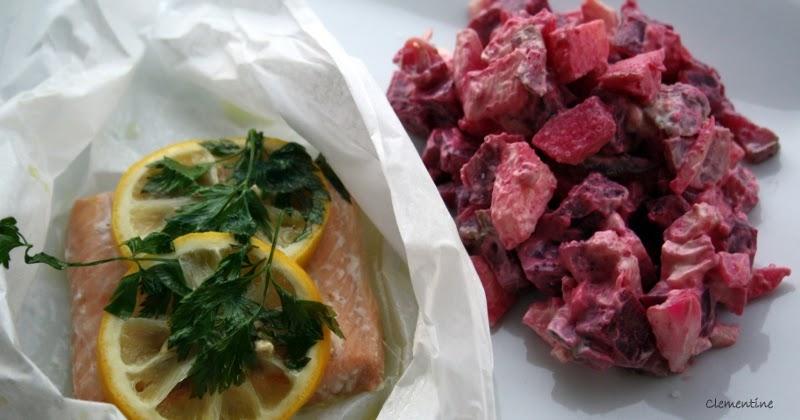 Le blog de clementine saumon en papillote avec salade de for Betterave micro onde